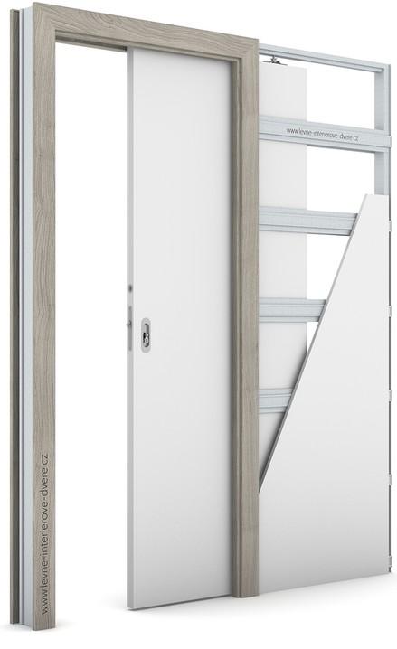 Zárubeň pro posuvné dveře do pouzdra (do zdi) KOMPAKT Portasynchro 3D AKÁT STŘÍBRNÝ