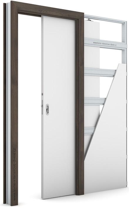 Zárubeň pro posuvné dveře do pouzdra (do zdi) KOMPAKT Portasynchro 3D DUB TMAVÝ