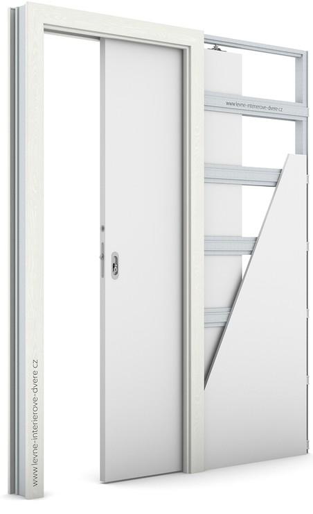 Zárubeň pro posuvné dveře do pouzdra (do zdi) KOMPAKT Portasynchro 3D WENGE WHITE
