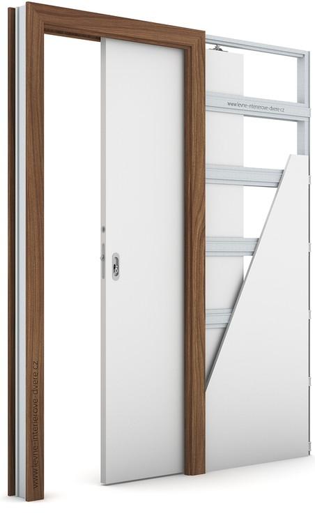 Zárubeň pro posuvné dveře do pouzdra (do zdi) KOMPAKT Laminát CPL HQ OŘECH MODENA 1