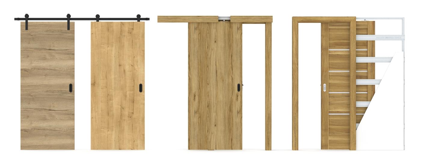 Posuvné dveře na stěnu a do pouzdra